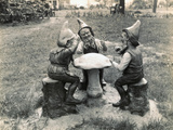 Gnomes Sitting around a Mushroom Photographic Print
