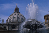 Dome of Saint Peter's with Fountain Photographic Print