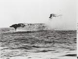 USS Lexington's Crew Diving into Sea Photographic Print