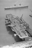 Aerial View of the SS United States Sailing past the USS Forrestal Photographic Print