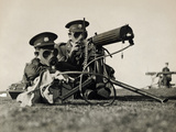 Soldiers with Gas Masks Photographic Print