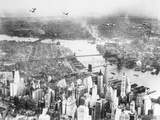 Aerial View Planes and Lower New York City Photographic Print