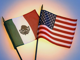 Flags of Mexico and United States Photographic Print by Reed Kaestner