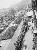 Aerial View of a Military Parade Photographic Print