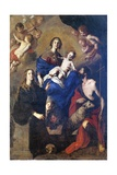 Italy, Palermo, Painting of Madonna in Glory with Angels, Saint John the Baptist and Saint Rosalia Giclee Print