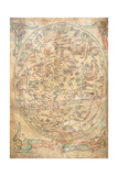 Mappa Mundi by Sawley or Enrico Di Magonza, Ink and Colors on Parchment, 12th Century Giclee Print