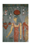 Egypt, Ancient Thebes, Valley of the Kings, Tomb of Horemheb, Mural Painting Depicting Goddess Isis Giclée-tryk