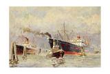 Künstler Wenskus, Claus, Hamburger Hafen, Dampfer Giclee Print
