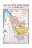 Map of the Bordeaux Region Impression giclée