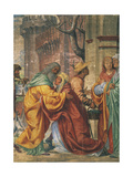 Meeting Between St Anne and St Joachim, Detail from Stories of St Joseph Giclee Print by Bernardino Luini