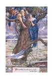She Pulled Herself Up to a Limb Beside Him. Giclee Print by Charles Edmund Brock