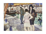 By the Quay Giclee Print by Christopher Richard Wynne Nevinson