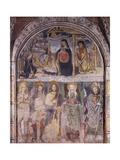 Nativity and Saints, Fresco Giclée-tryk af Gaudenzio Ferrari