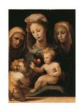 Madonna and Child with the Infant Saint John, Saint Elizabeth and Saint Catherine of Siena Giclée-tryk af Domenico Beccafumi