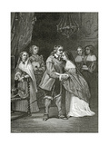 Cromwell and His Daughters, 19th Century Giclee Print by Ernest Hillemacher
