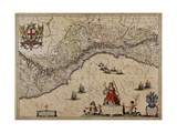 Map of Liguria Region Giclee Print by Giovanni Antonio Magini