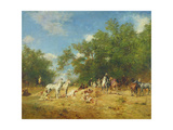 Arab Horsemen Resting in the Forest, 1868 Giclee Print by Eugene Fromentin