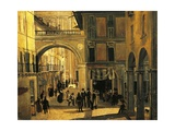 Old Street of Brescia Giclee Print by Angelo Inganni