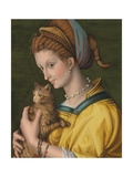 Portrait of a Young Lady Holding a Cat Giclee Print by Francesco Ubertini Verdi Bachiacca