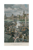 The French Army Leaving Leipsic Giclee Print by Felicien Baron De Myrbach-rheinfeld
