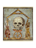 Reproduction of a Mosaic with Masonic Symbols, from the Houses and Monuments of Pompeii Giclee Print by Fausto and Felice Niccolini