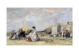 Woman in White on the Beach at Trouville, 1869 Reproduction procédé giclée par Eugène Boudin