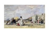 Woman in White on the Beach at Trouville, 1869 Giclee Print by Eugène Boudin