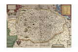 Map of Norfolk in 1574 Giclee Print by Christopher Saxton