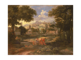 Landscape with Moses Saved from the River Nile Giclee Print by Etienne Allegrain