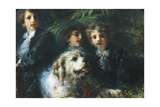 The Troubetzkoy Boys with a Dog, 1874 Giclee Print by Daniele Ranzoni