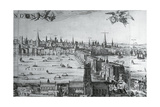 UK, England, View of the City of London with London Bridge Giclee Print by Claes Jansz Visscher