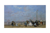 On Trouville Beach Giclee Print by Eugène Boudin