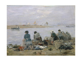 Washerwomen on Banks of Touques River Near Trouville Giclee Print by Eugène Boudin