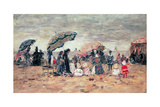 Parasols on the Beach, Trouville, 1886 Giclee Print by Eugène Boudin