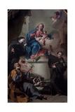 Madonna and Child with Saints Joseph, Margaret of Cortona, Anthony of Padua Giclée-tryk af Giovanni Battista Pittoni