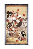Thirteen Roosters, from Doshoku Sai-E Giclee Print by Ito Jakuchu