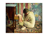 Nude with Pink Shirt; Nu a La Chemise Rose, 1926 Giclee Print by Henri Lebasque