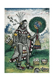 Aztec Prince with a Feather Fan from the History of the Indies, 1579 Giclee Print by Diego Duran