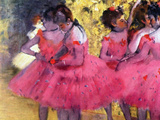 Dancers in Pink, Between the Scenes Giclee Print by Edgar Degas