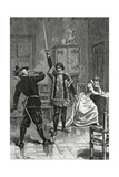 Ruy Blas Confronts Don Salluste, 19th Century Giclee Print by Francois Edouard Zier