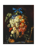 Bouquet of Fruit with Eucharistic Symbols on a Ledge Below Giclee Print by Cornelis de Heem
