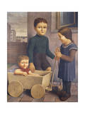 Three Children; Drei Kinder, 1926 Giclee Print by Georg Schrimpf
