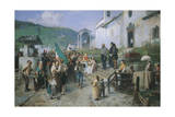 The Departure of the 1866 Conscripts Giclee Print by Gerolamo Induno
