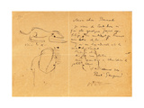 Letter to Emile Bernard with Three Ink Sketches, Noting the Death of 'Vincent', Tahiti, 1890S Giclee Print by Emile Bernard