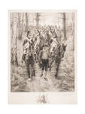 French Cavalry Traveling Through Woods with Guide Giclee Print by Jean-Louis Ernest Meissonier