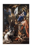 St Bonaventure Receiving Banner of St Sepulchre from Madonna Giclee Print by Francesco Solimena