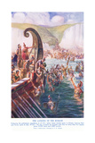 The Romans Arriving in Britain Giclee Print by Joseph Ratcliffe Skelton
