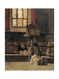 Interior of the Sacristy with Monks Giclee Print by Giuseppe Abbati