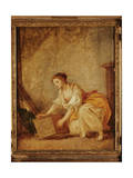 A Young Girl Lifting a Chest Giclee Print by Jean-Baptiste Greuze