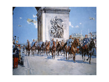 WWI Victory Parade Passing Through the Arc De Triomphe Led by French Marshals Joffre and Foch Giclee Print by Francois Flameng